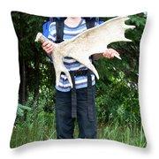 Boy Holding A Moose Antler Throw Pillow