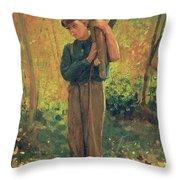 Boy Holding Logs Throw Pillow by Winslow Homer