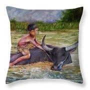 Boy In A Carabao Throw Pillow