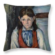 Boy In A Red Vest Throw Pillow