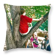 Boy In A Tree Throw Pillow
