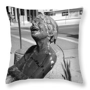 Boy In Fountain Sculture Grand Junction Co Throw Pillow