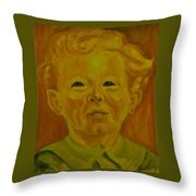 Boy In Green Blouse Throw Pillow