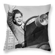 Boy In In Go-cart, C.1940-30s Throw Pillow
