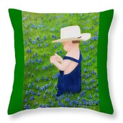Boy In The Bluebonnets Throw Pillow