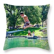 Boy Jumping Off The Board Into Dierkes Lake In Snake River Near Twin Falls-idaho   Throw Pillow
