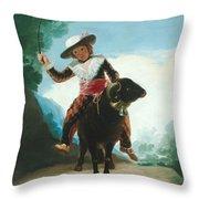 Boy On A Ram Throw Pillow