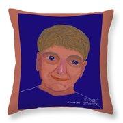 Boy On Blue Throw Pillow