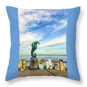 Boy On The Seahorse Throw Pillow