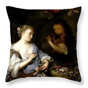 Boy Playing A Flute To A Young Woman Throw Pillow