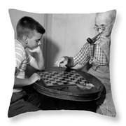 Boy Playing Checkers With Grandfather Throw Pillow