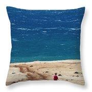 Boy Runs Toward Ocean Throw Pillow