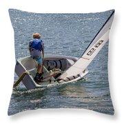Boy Sailing Throw Pillow