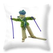 Boy Skiing In Burlap Crafts Throw Pillow
