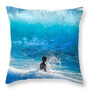 Boy And Wave   Kekaha Beach Throw Pillow