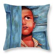 Boy Waiting At Door Throw Pillow