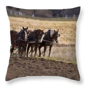 Boy Waiting With Horses Throw Pillow