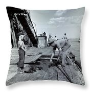 Boy Watching Fisherman Unload Lobsters Throw Pillow