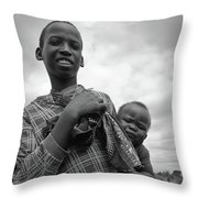 Boy With A Baby Throw Pillow