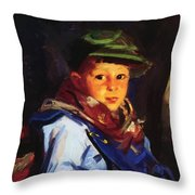 Boy With A Green Cap Also Known As Chico 1922 Throw Pillow