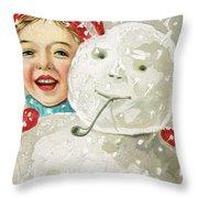 Boy With A Snowman Throw Pillow
