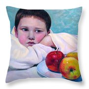 Boy With Apples Throw Pillow