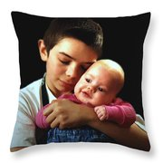 Boy With Bald-headed Baby Throw Pillow