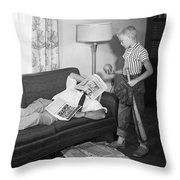 Boy With Baseball Vs. Napping Dad Throw Pillow