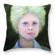 Boy With Curly Hair Throw Pillow