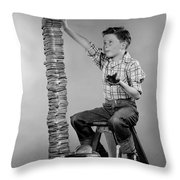 Boy With Huge Stack Of Toast, C.1950s Throw Pillow