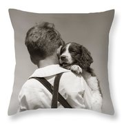 Boy With Puppy, C.1930-40s Throw Pillow