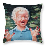 Boy With Raspberries Throw Pillow
