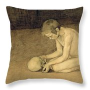 Boy With Skull Throw Pillow