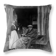 Boy With Tuberculosis In Bath Chair Throw Pillow