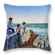 Boys And The Ocean Throw Pillow