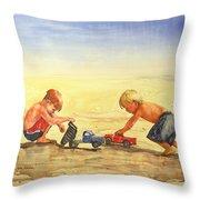 Boys And Trucks On The Beach Throw Pillow