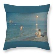 Boys Bathing At Skagen On A Summer Evening Throw Pillow