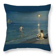 Boys Bathing At Skagen. Summer Evening Throw Pillow