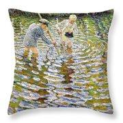Boys Fishing For Minnows Throw Pillow