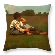Boys In A Pasture Throw Pillow