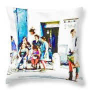 Boys In Medieval Dress With Group Of Women Throw Pillow