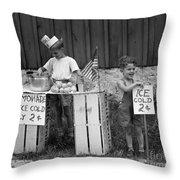 Boys Selling Lemonade, C.1940s Throw Pillow