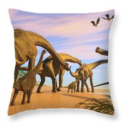 Brachiosaurus Beach Throw Pillow