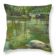 Bradford Ma College Pond Throw Pillow