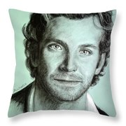 Bradley Cooper Charcoal Portrait Throw Pillow