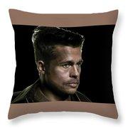Brad Pitt As Lt Aldo Paine Publicity Photo The Inglourious Bastards 2009 Color Added 2016 Throw Pillow