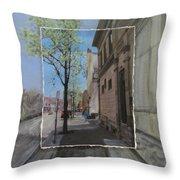 Brady Street With Tree Layered Throw Pillow
