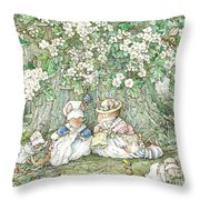 Brambly Hedge - Hawthorn Blossom And Babies Throw Pillow