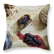 Bran Muffins With Mulberry Jam Throw Pillow
