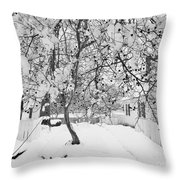 Branches In Snow Throw Pillow
